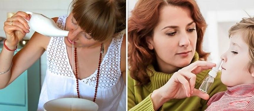 Лечение ринита: промывание и закапывание носа